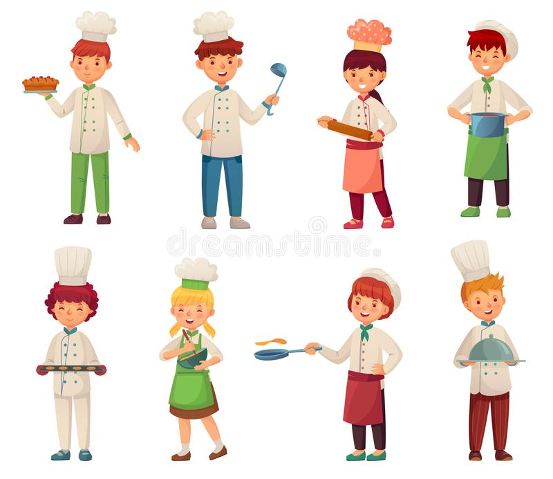 Historieta que cocina a niños El pequeño cocinero cocina la comida, el cocinero del niño y el sistema del ejemplo del vector de l stock de ilustración