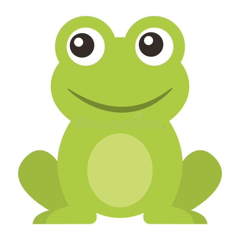 Historieta que se sienta animal linda de la rana stock de ilustración