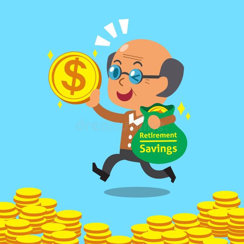 Historieta que un viejo hombre con ahorros del retiro empaqueta ilustración del vector