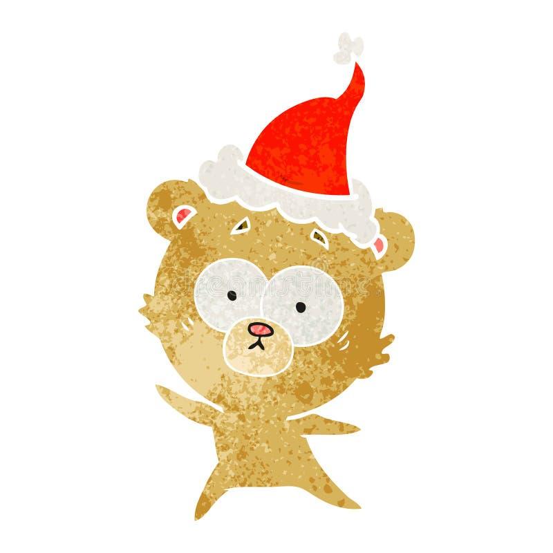 historieta retra del oso ansioso de un sombrero de santa que lleva stock de ilustración