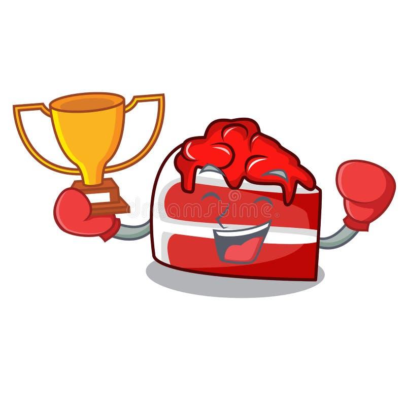 Historieta roja de la mascota del terciopelo del ganador del boxeo stock de ilustración