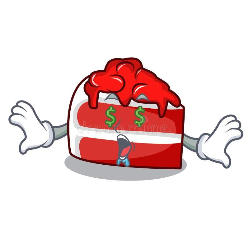 Historieta roja de la mascota del terciopelo del ojo del dinero ilustración del vector