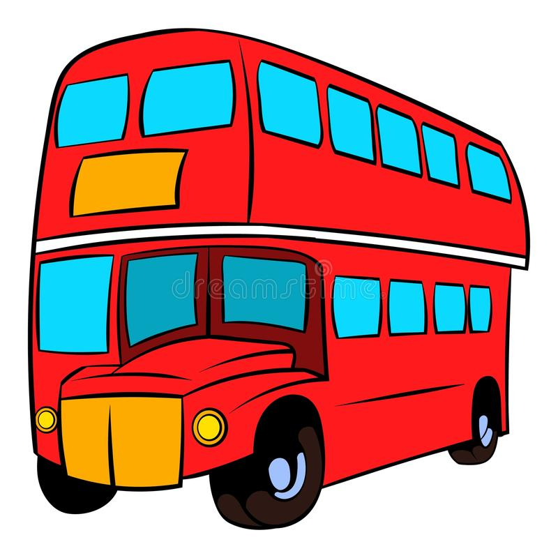 Historieta roja del icono del autobús del autobús de dos pisos de Londres libre illustration
