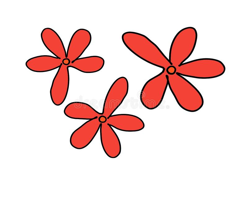 Historieta roja linda del vector del diseño de la decoración de la etiqueta engomada de Clipart de la flor fotografía de archivo