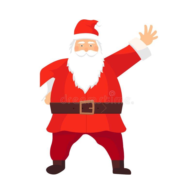 Historieta Santa Claus del vector con una barba blanca que da la bienvenida con hola Símbolo de la Navidad en la ropa roja, botas libre illustration