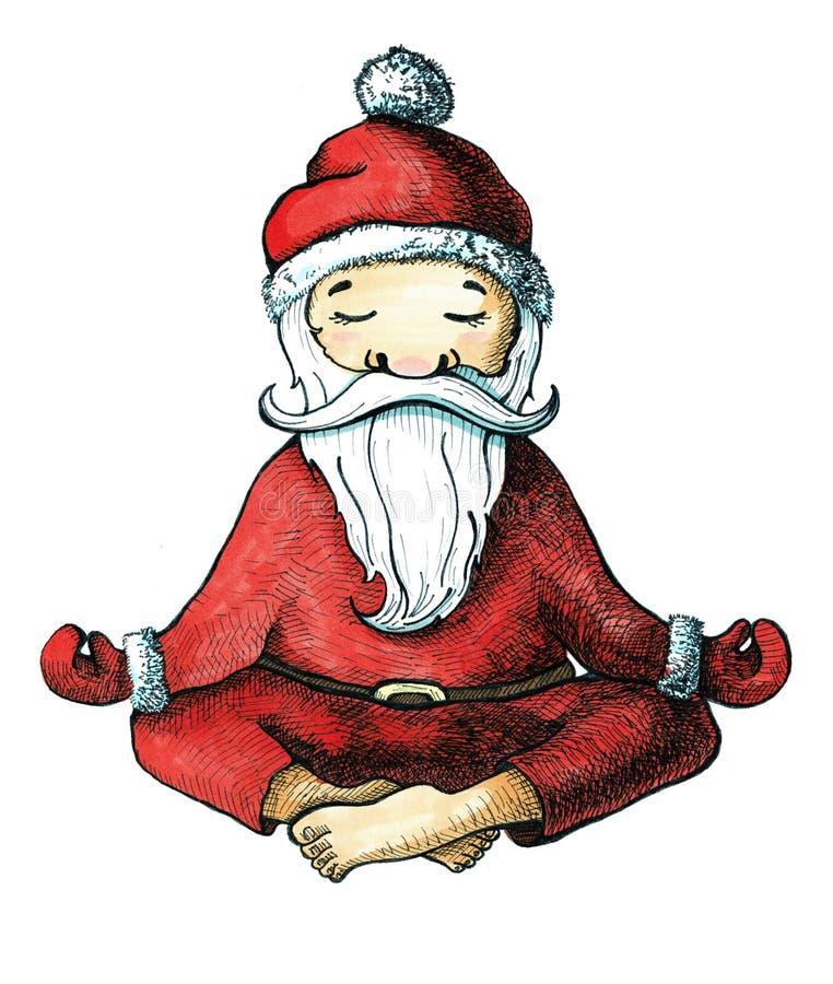 Historieta Santa Claus en una de las actitudes de la yoga Marcadores pintados aislados en el fondo blanco Postal por la Navidad y ilustración del vector