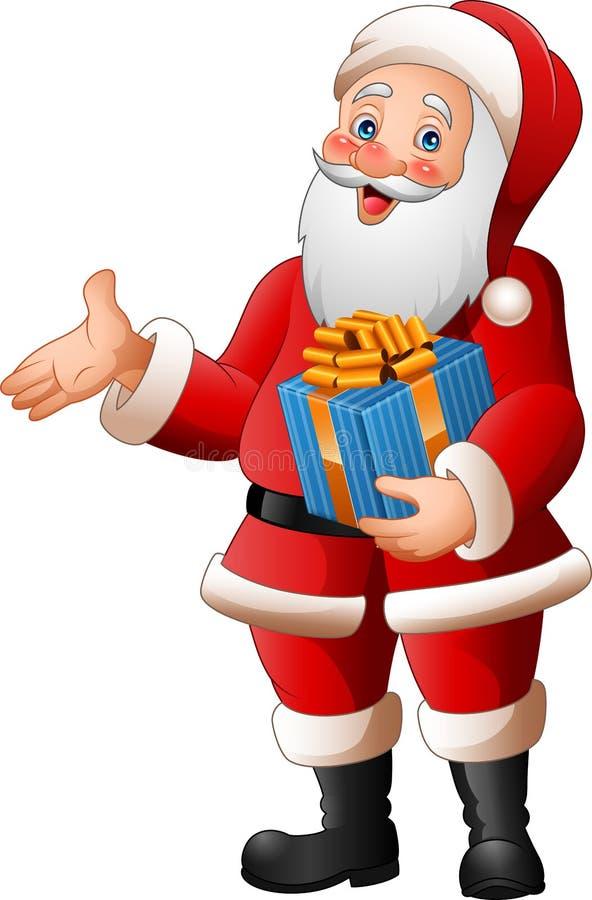 Historieta Santa Claus que sostiene una caja de regalo stock de ilustración