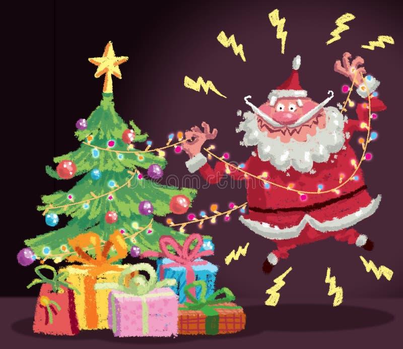Historieta Santa Claus que tiene un accidente de la descarga eléctrica en el christm libre illustration