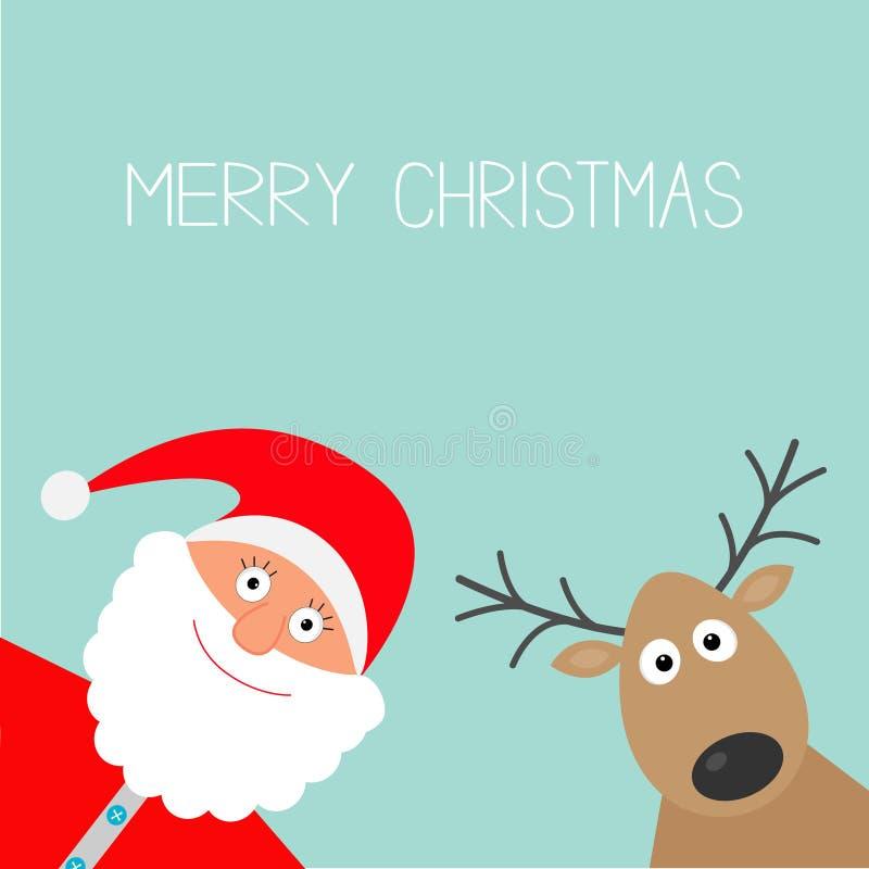 Historieta Santa Claus y ciervos Diseño plano de la tarjeta de la Feliz Navidad ilustración del vector
