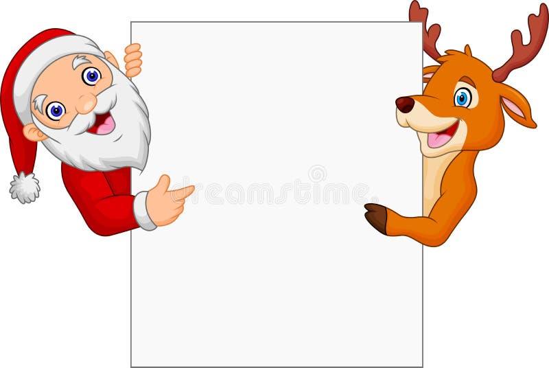 Historieta Santa Claus y reno que señala en la muestra en blanco stock de ilustración