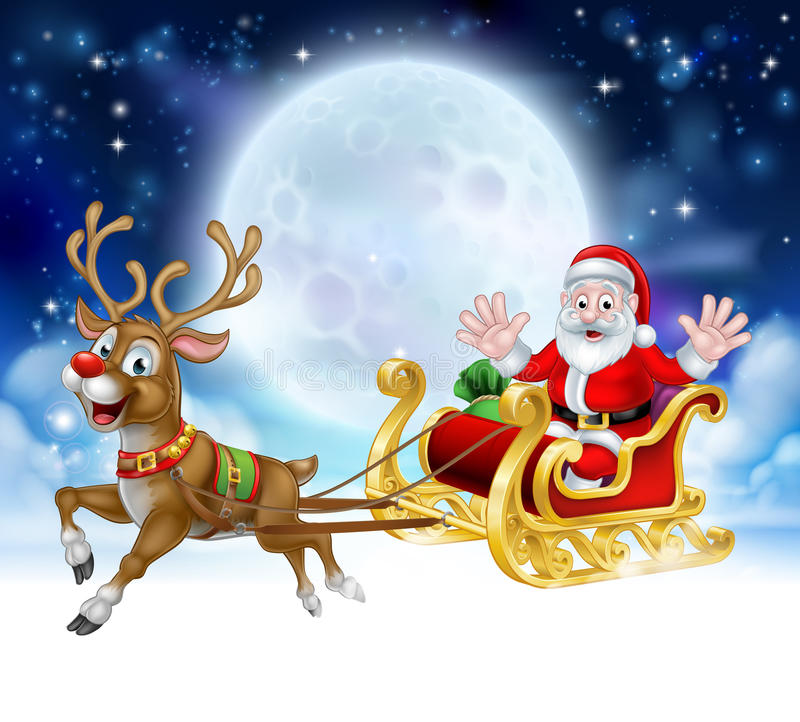 Historieta Santa Reindeer Sleigh Christmas Scene stock de ilustración