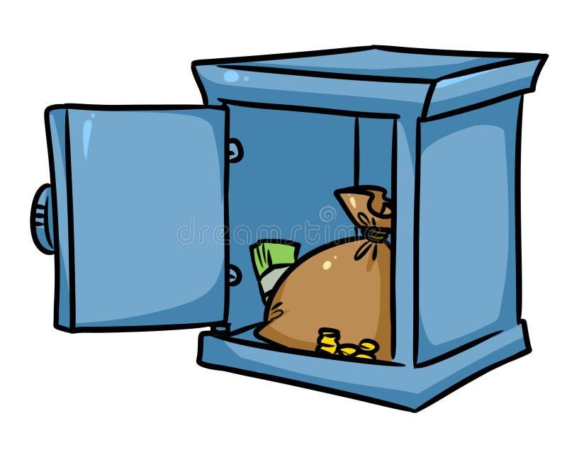 Historieta segura del dinero de la cámara acorazada de banco stock de ilustración