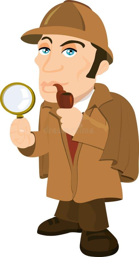 Historieta Sherlock Holmes con una lupa stock de ilustración