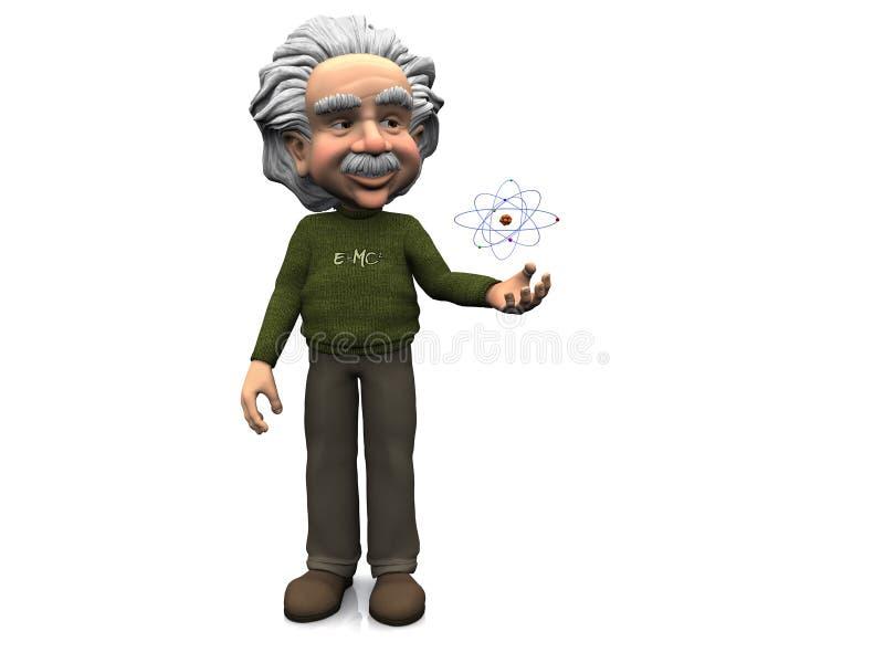 Historieta sonriente Einstein con el átomo. ilustración del vector