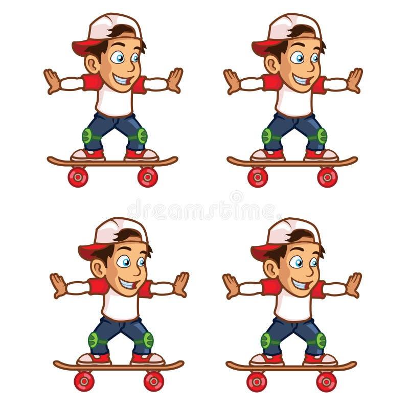 Historieta Sprite del balanceo del muchacho del patinador libre illustration