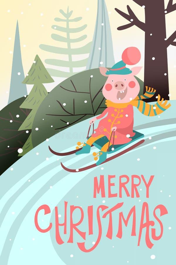Historieta, tarjeta divertida de la Feliz Navidad con guarro en el trineo del trineo, paisaje del invierno con las letras de la F libre illustration