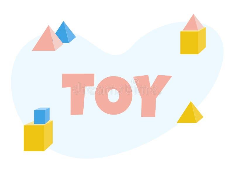 Historieta Toy Lettering Poster con las unidades de creación stock de ilustración