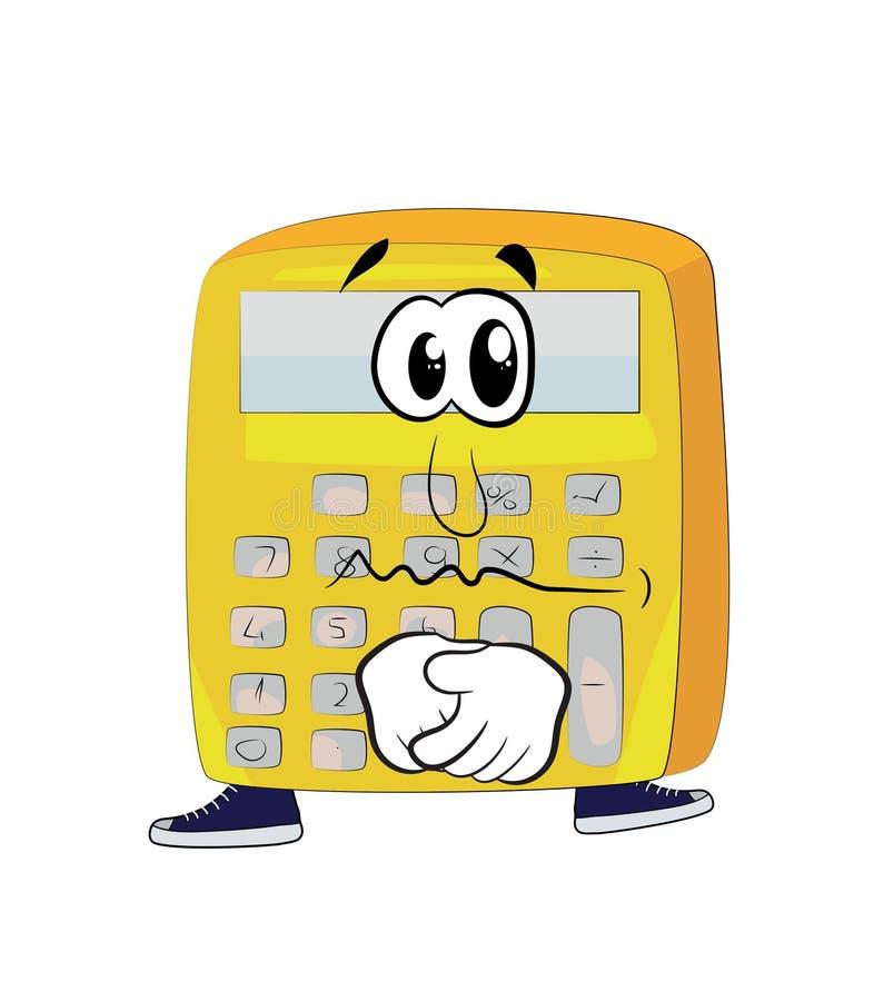 Historieta triste de la calculadora stock de ilustración