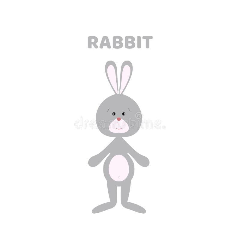 Historieta un conejo lindo y divertido stock de ilustración