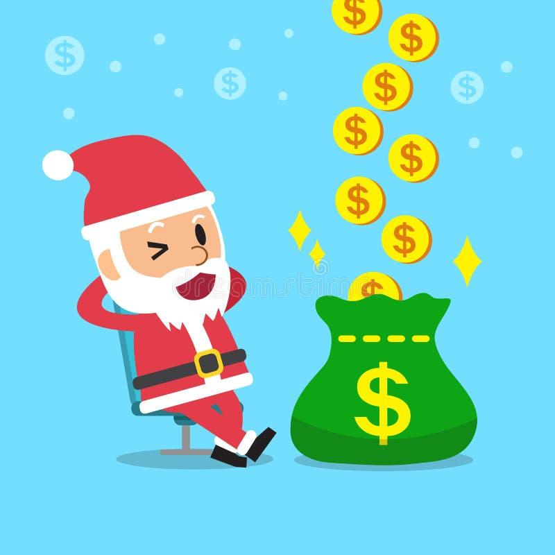 Historieta un dinero de la ganancia de Papá Noel de la relajación ilustración del vector