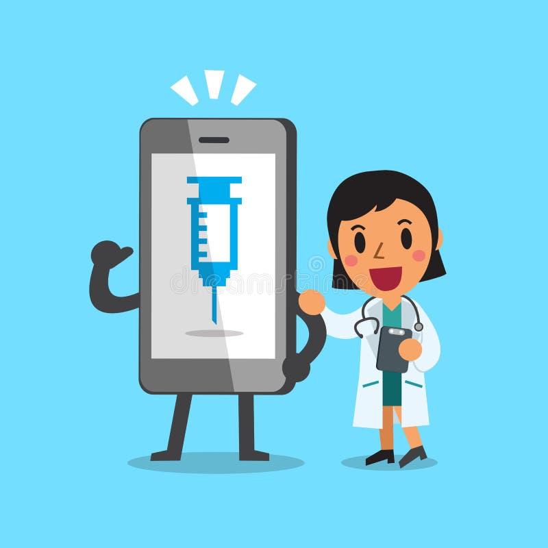 Historieta un doctor y un smartphone stock de ilustración