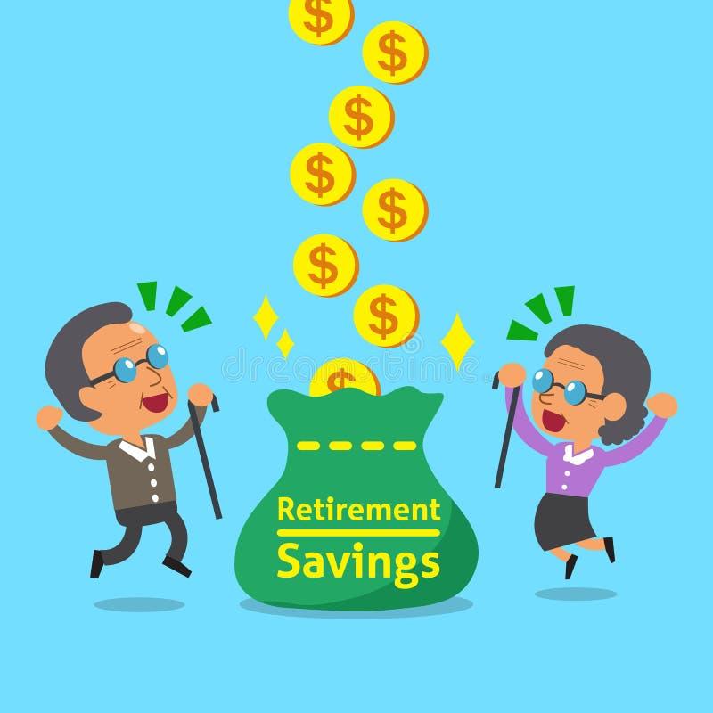 Historieta una mujer mayor y un viejo hombre que reciben ahorros del retiro stock de ilustración
