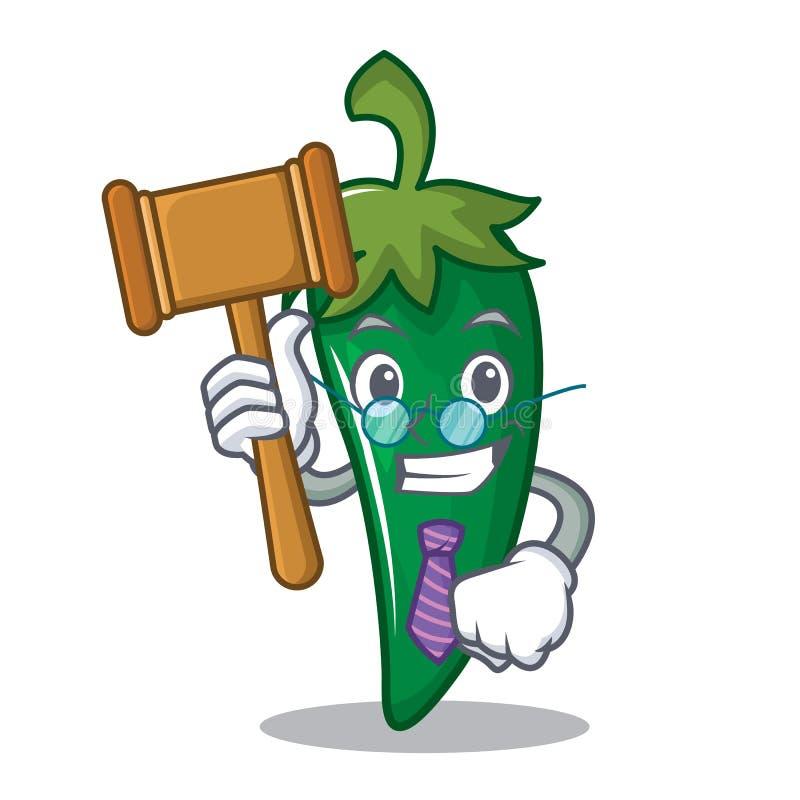 Historieta verde del carácter del chile del juez ilustración del vector