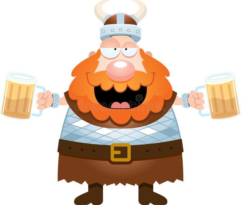 Historieta Viking Drinking Beer ilustración del vector
