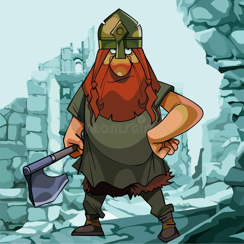Historieta vikingo en un fondo de ruinas azules stock de ilustración