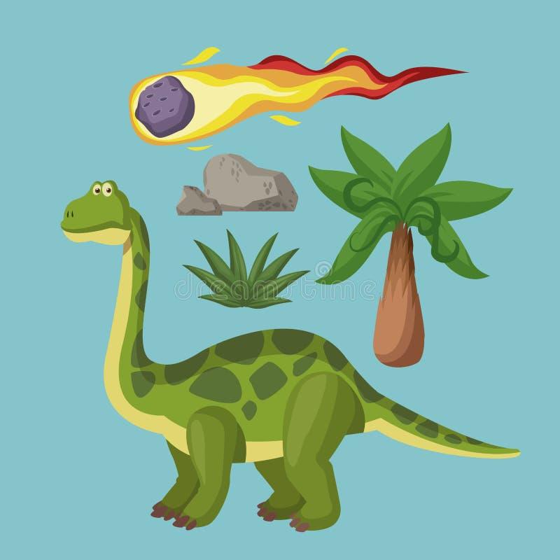 Historietas de la extinción de los dinosaurios stock de ilustración