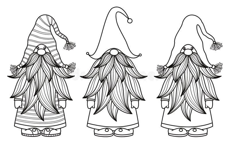 Historietas de los gnomos del vector, siluetas negras stock de ilustración