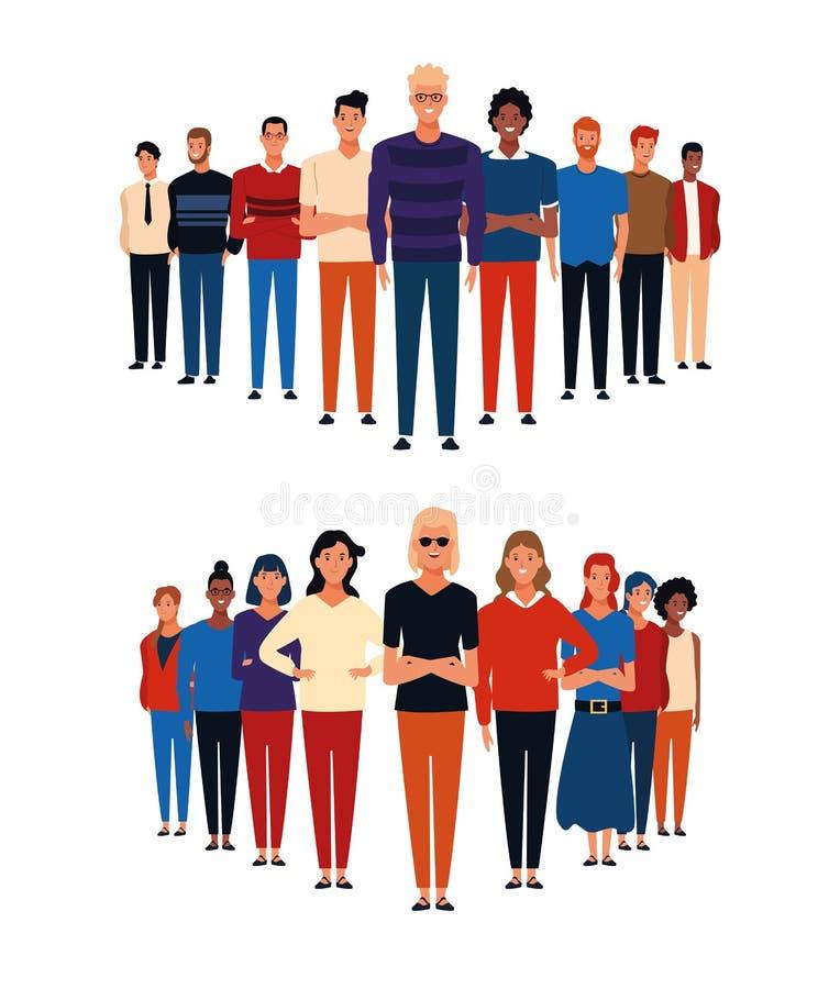 Historietas de los grupos de personas libre illustration