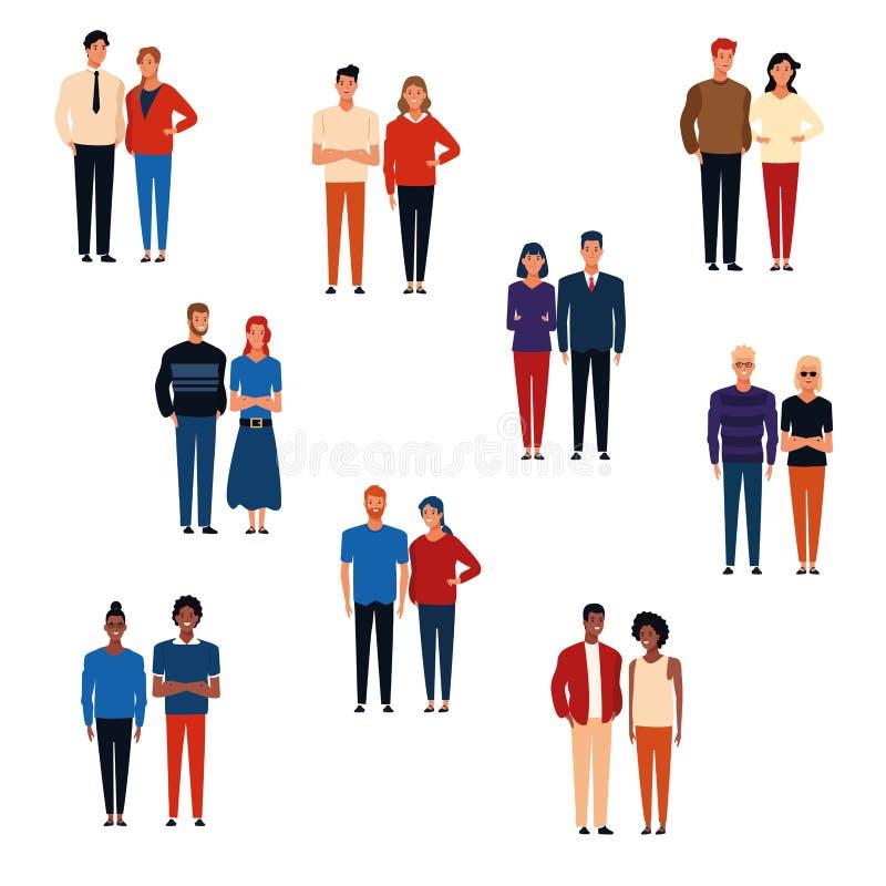 Historietas de los grupos de personas stock de ilustración