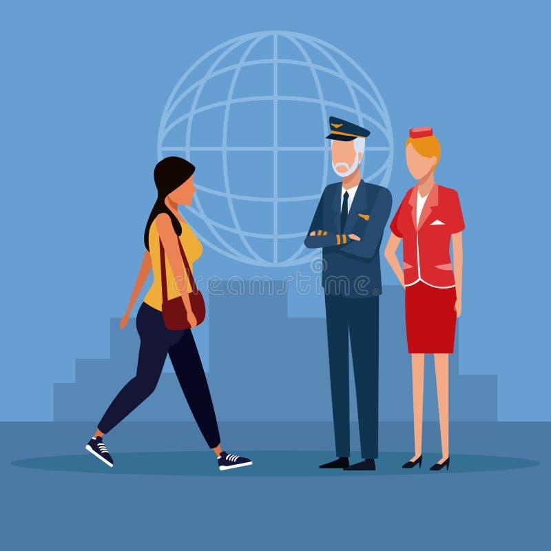 Historietas de los trabajadores de la aviación stock de ilustración