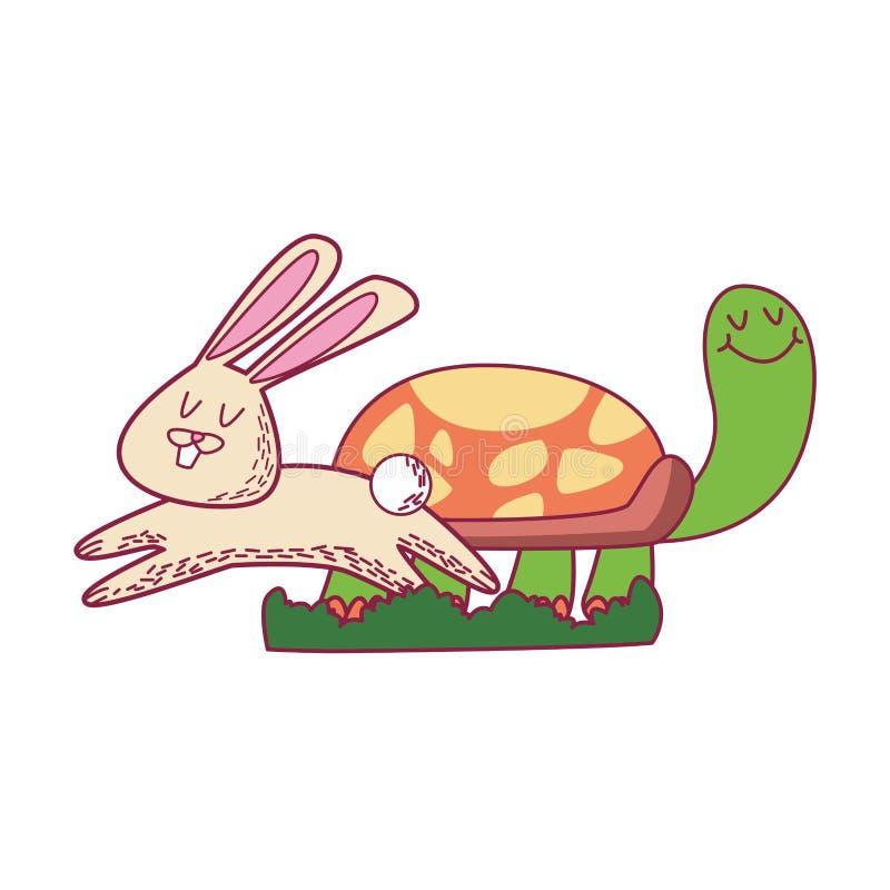 Historietas del conejo y de la tortuga libre illustration