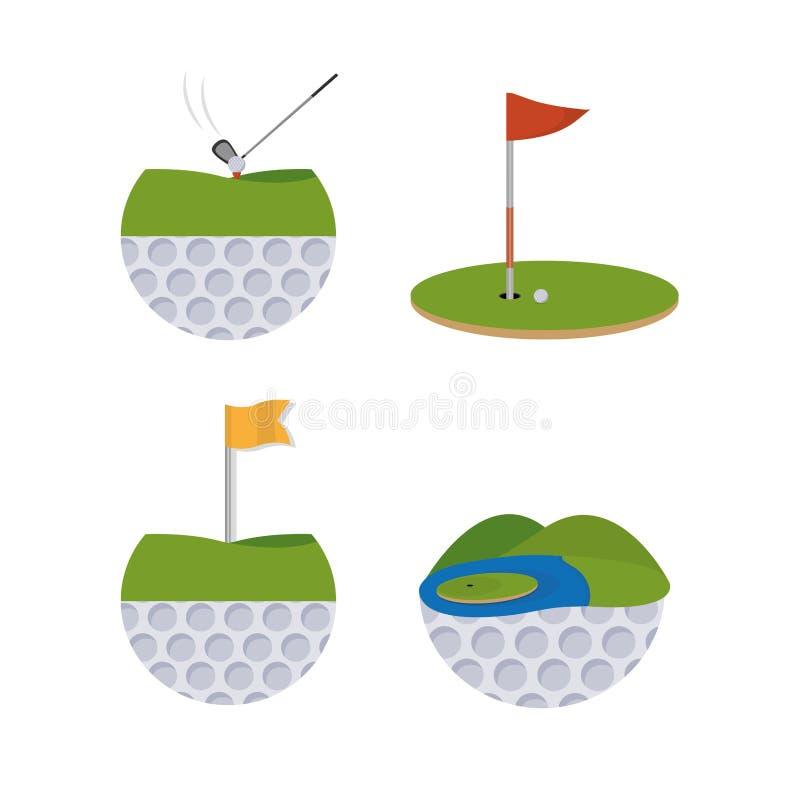 Historietas del deporte del golf ilustración del vector
