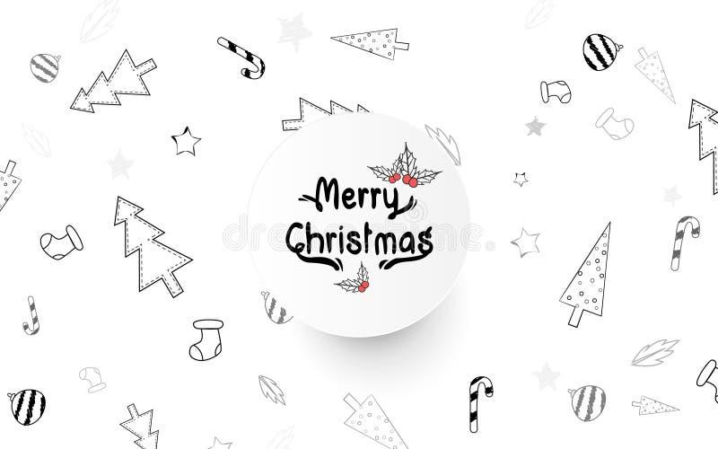 Historietas dibujadas de los elementos de la Navidad a pulso Doodle el estilo vector del ejemplo ilustración del vector