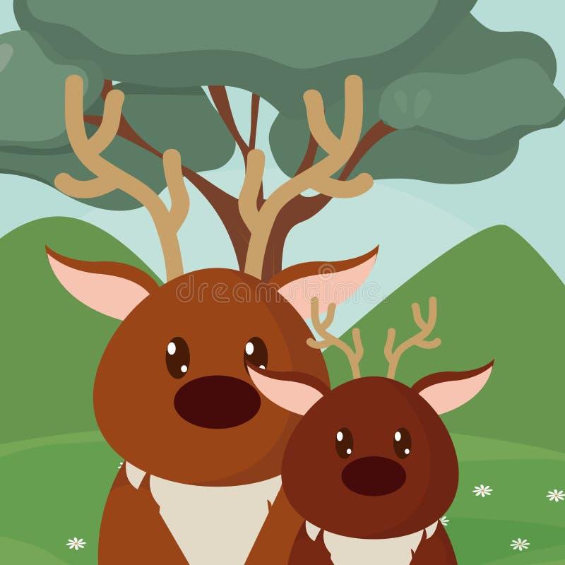 Historietas lindas de los animales de los ciervos stock de ilustración
