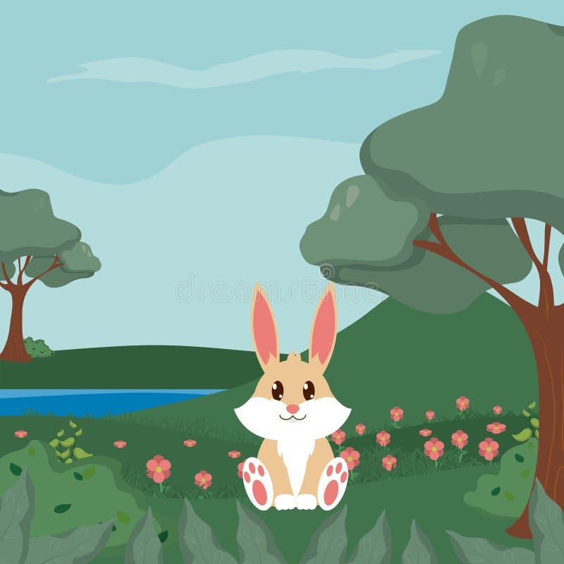 Historietas lindas de los animales del conejo stock de ilustración