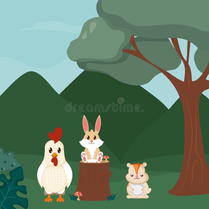 Historietas lindas de los animales del gallo, del conejo y del castor libre illustration