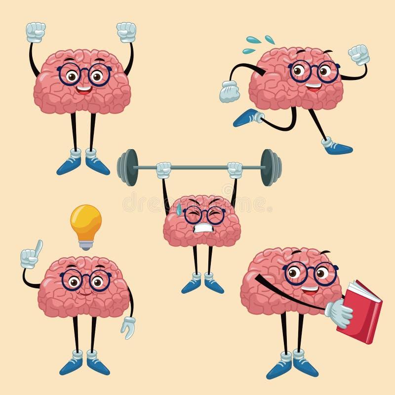 Historietas lindas de los cerebros stock de ilustración