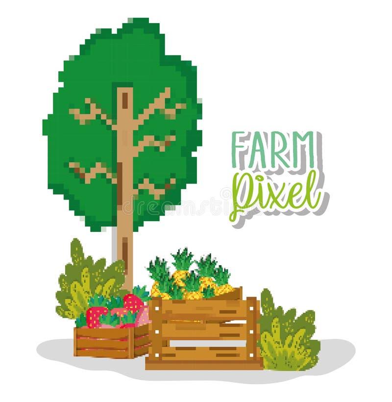 Historietas pixelated granja stock de ilustración