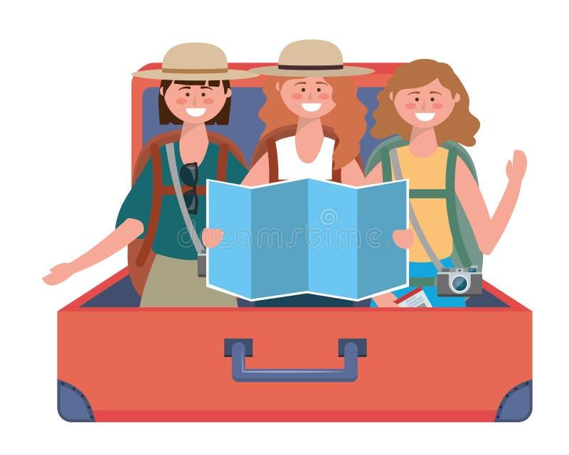 Historietas turísticas de las muchachas con diseño del bolso stock de ilustración