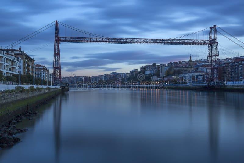 Historik Bizkaia bridge, Spanien arkivbild