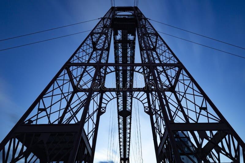 Historik Bizkaia bridge, Spanien fotografering för bildbyråer
