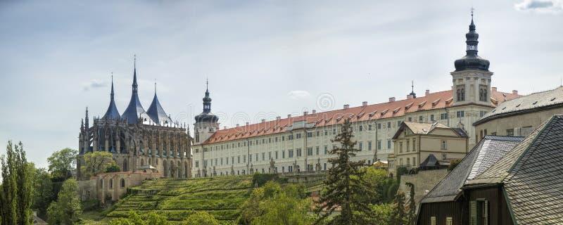 Historisch architectuurpanorama, Kutna Hora, Praag royalty-vrije stock foto's