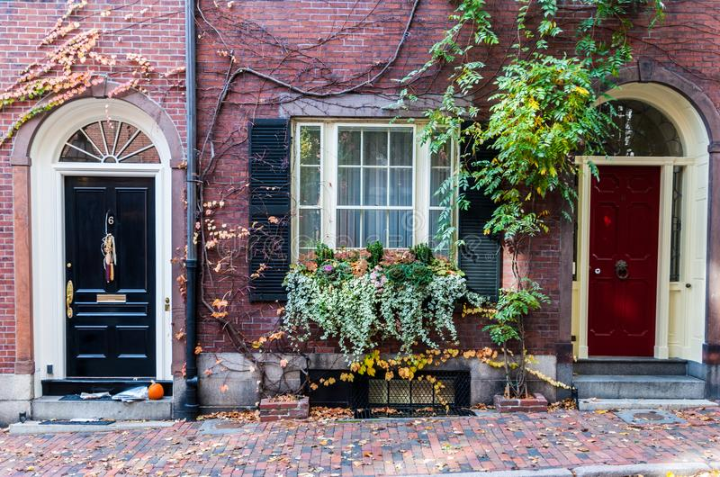 Historisch Beacon Hill van Boston, Massachusetts stock afbeeldingen