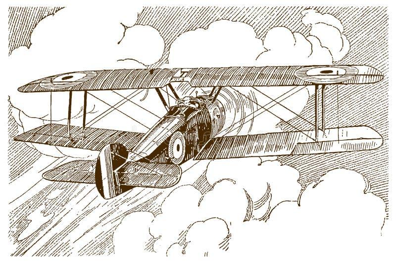 Historisch-britisch einmotorige Zugmaschine mit einem Sitz in Rückansicht, die auf riesige Cumulus-Wolken fliegt stock abbildung