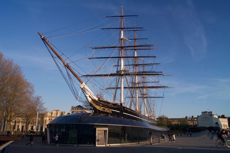 Historisch Brits die schip in dok wordt geparkeerd stock foto