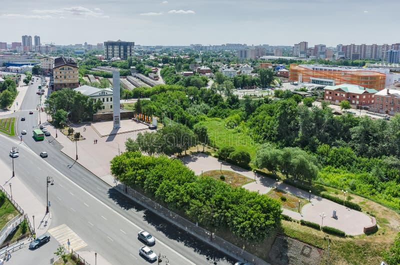 Historisch centrum op de rivier van kusttura Tyumen stock foto's